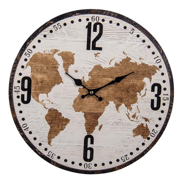 """Ceas """"World Map"""" Ø 34*1 cm, Clayre & Eef"""