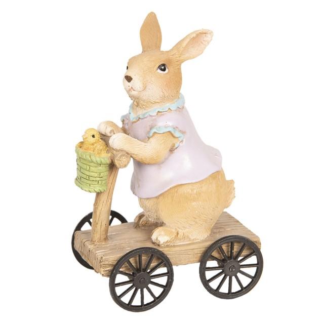 """Decoratiune """"Rabbit on Scooter"""" 8*5*13cm, Clayre & Eef"""