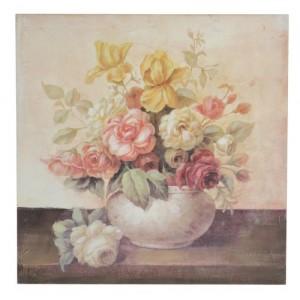 "Tablou ""Vase de fleurs"" 50x50 cm, Clayre & Eef"