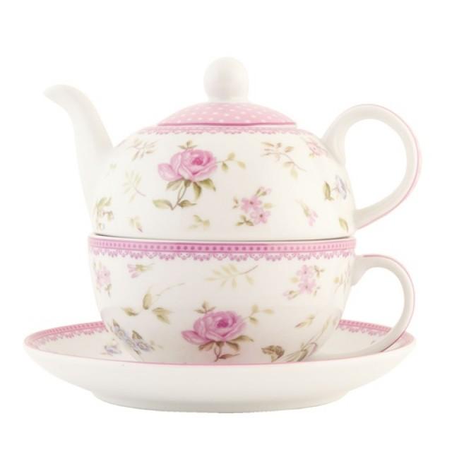 """Set ceainic si ceasca cu farfurie din portelan, pentru o persoana, Tea for One """"Elegant Rose"""", Clayre & Eef"""