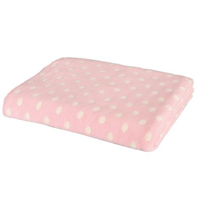 "Pled ""Pink Polka Dots"" 125*150cm"