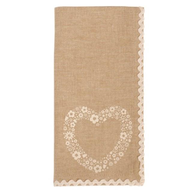 """Servet de masa textil """"Floral Heart"""" 40*40 cm, Clayre & Eef"""